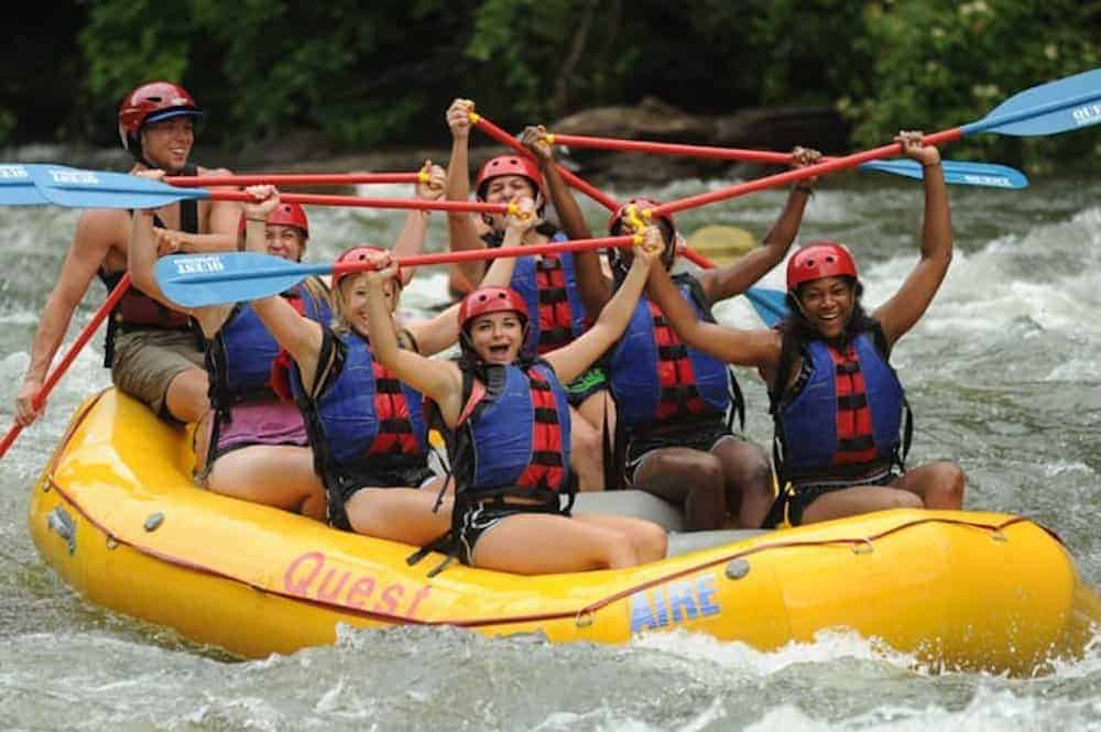 Group of girls rafting on the Ocoee River