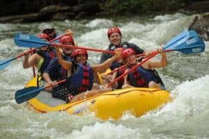 group rafting on a river