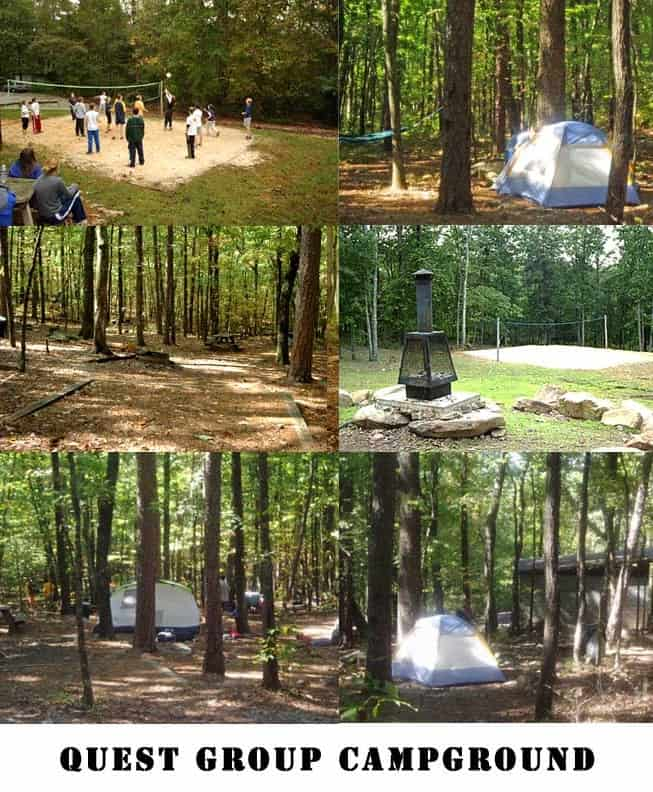 tents, picnic areas, volleyball
