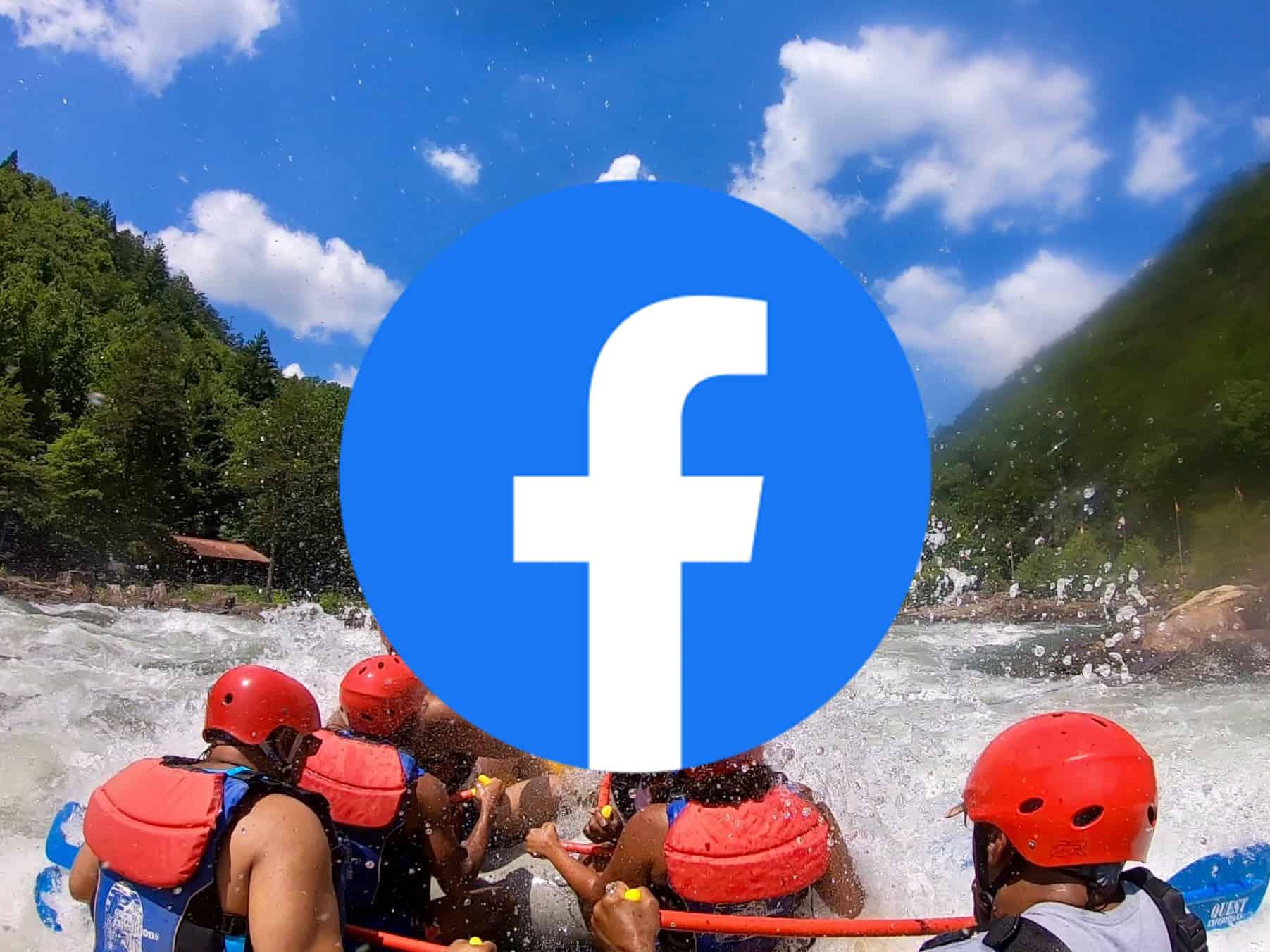 facebook logo over rafting