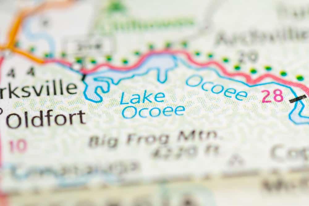 lake ocoee on a map