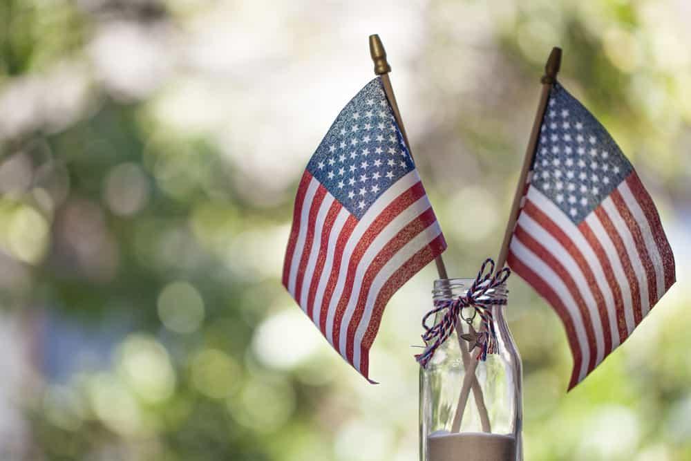 american flags in a jar
