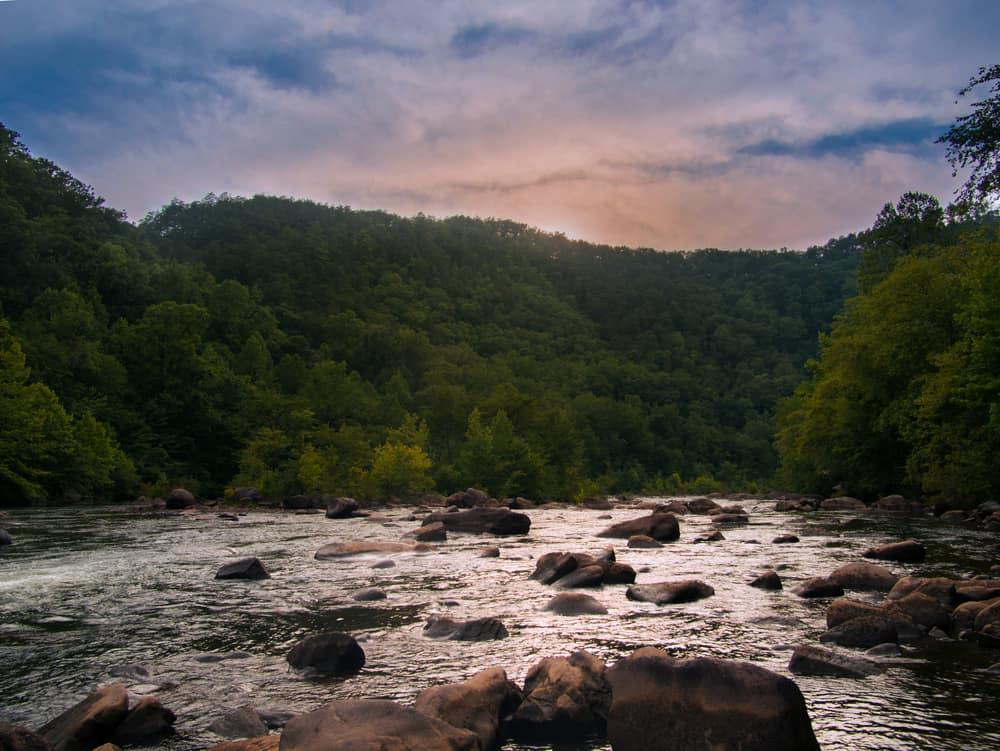 sunset over the ocoee river